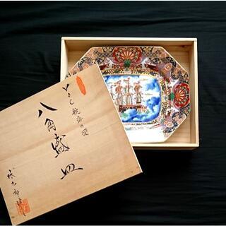 ハサミ(HASAMI)の《桐箱付き》林九郎 VOC航海の図八角盛皿(食器)