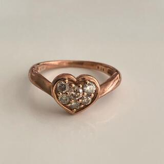 K10 ダイヤモンドリング ハート ピンキーリング 刻印あり(リング(指輪))