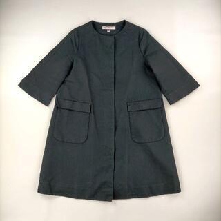 ドレステリア(DRESSTERIOR)のドレステリア 36/S ノーカラーコート ブラック 袖短め コート  シンプル(ロングコート)
