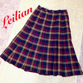 レリアン(leilian)の☆オススメ☆ レリアン 大きいサイズ タータン ウール フレア スカート 11号(ひざ丈スカート)