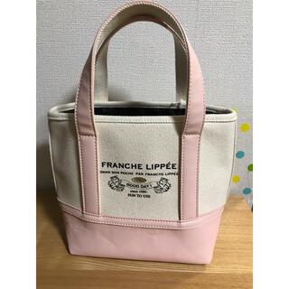 フランシュリッペ(franche lippee)の美品♬︎♡フランシュリッペ キャンパス地 ピンク 白 猫柄ミニトートバッグ(トートバッグ)