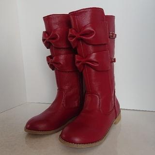 Shirley Temple - シャーリーテンプル  リボンブーツ23cm赤系 難あり