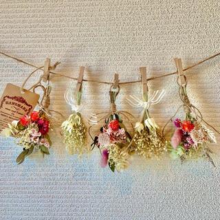 お花たっぷりドライフラワー スワッグ ガーランド❁72 ピンク白グリーン花束♪(ドライフラワー)