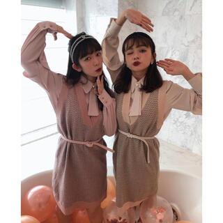 Honey mi Honey - miro amurette ニットツイードワンピース+ブラウス ピンク