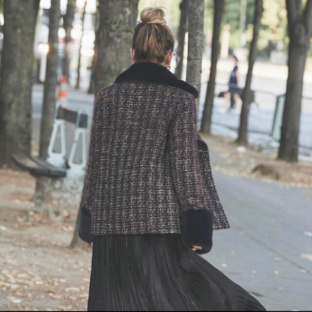 eimy istoire(エイミーイストワール)のeimy istoire  フェイクファーコンビツイードジャケット レディースのジャケット/アウター(毛皮/ファーコート)の商品写真