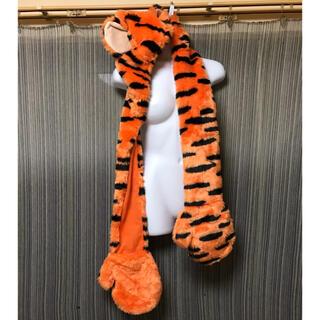 ディズニー(Disney)のティガー フード付 手袋付 マフラー オレンジ(キャラクターグッズ)