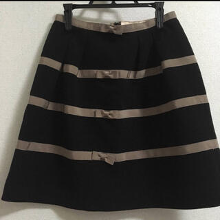 リボンミニスカート ブラック 台形(ミニスカート)