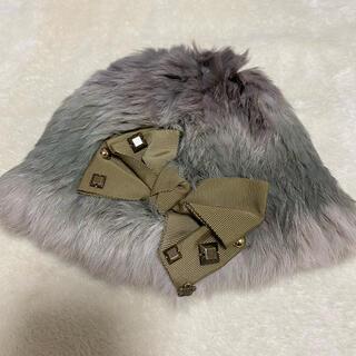アナスイミニ(ANNA SUI mini)の美品 アナスイミニ  ラビットファー 帽子 リボン フリーサイズ(帽子)