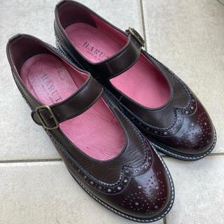 ハルタ(HARUTA)のハルタHARUTA太ストラップシューズ24.5ダークブラウン日本製本革(ローファー/革靴)