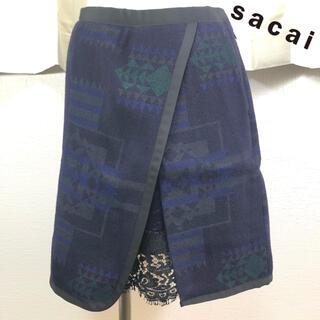 サカイラック(sacai luck)のsacai luck ノルディック柄 ウール スカート サイズ1(ひざ丈スカート)