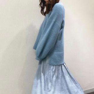 ウィルセレクション(WILLSELECTION)のウィルセレクション ラメFOX35オーバーロングニット セーター ブルー(ニット/セーター)