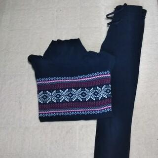 ユニクロ(UNIQLO)のユニクロ フリースパジャマ S紺色 ⑤(パジャマ)