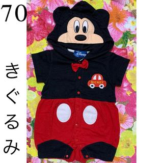 ディズニー(Disney)のミッキ- 半袖 ロンパ-ス 着ぐるみ 70(ロンパース)