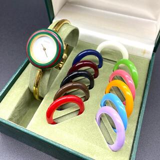 Gucci - 新品電池 GUCCI チェンジベゼル Mサイズ レディース腕時計