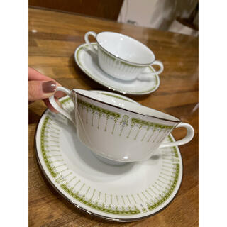 ノリタケ(Noritake)のノリタケ GREEN POINT スープカップ&ソーサー 2客 RC(食器)