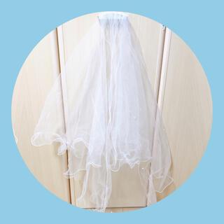 【激安】パール付ショートベール(ウェディングドレス)