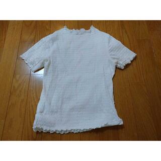 ジーユー(GU)のGUジーユーストレッチカットソーSホワイト白半袖Tシャツ(カットソー(半袖/袖なし))