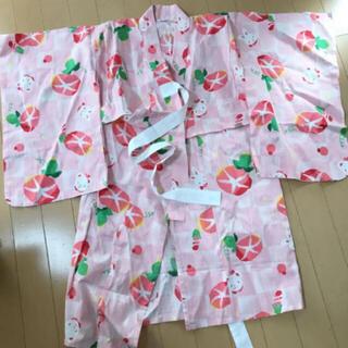 ファミリア(familiar)の一度着用‼︎familiar リアちゃん柄のピンクの浴衣 100cm 女の子甚平(甚平/浴衣)
