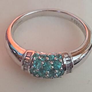 天然パライバトルマリン ダイヤモンド 0.66×0.26(リング(指輪))