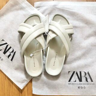 ザラ(ZARA)のZARA home 今季完売 クロスオーバー フラットサンダル エクリュ 37(サンダル)