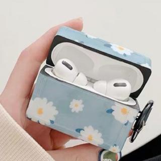 アップル(Apple)のair pods pro エアポッズプロ ケース イヤホン 花柄 可愛い ブルー(ヘッドフォン/イヤフォン)