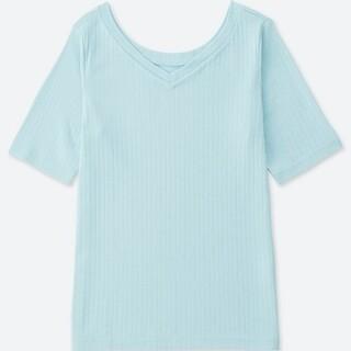 UNIQLO - ユニクロ⚫️2WAYリブT(5分袖)