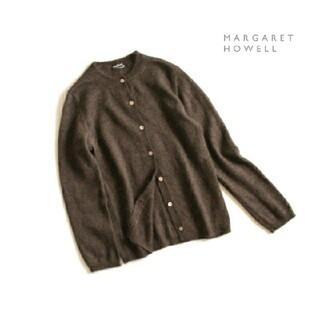 マーガレットハウエル(MARGARET HOWELL)のマーガレットハウエル■ウール×シルク混 ニット カーディガン ダークブラウン(カーディガン)