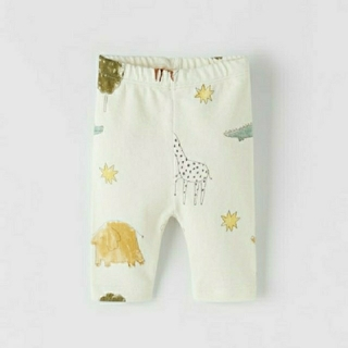 ザラキッズ(ZARA KIDS)のZARA KIDS BABY アニマル柄入りプラッシュジャージー地パンツ 74(パンツ)