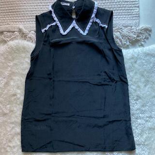 ミュウミュウ(miumiu)のミュウミュウ レース襟 ブラック シルク(シャツ/ブラウス(半袖/袖なし))