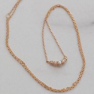 agete - アガット k18 パール ダイヤ ネックレス