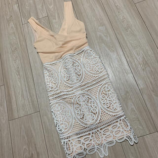 リプシー(Lipsy)のリプシー  レース タイト ドレス ワンピース UK6(ミディアムドレス)