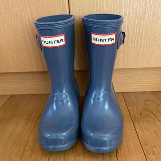 ハンター(HUNTER)のhunterキッズレインブーツ☆くすみブルー☆uk9(長靴/レインシューズ)