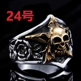 髑髏 ドクロ スカル ヘッド × 薔薇 モチーフ シルバー リング 指輪 24号(リング(指輪))
