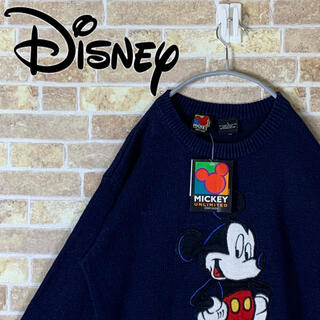 ディズニー(Disney)の送料無料!! ディズニー 刺繍ロゴ ゆるだぼ 90s セーター ニット(ニット/セーター)