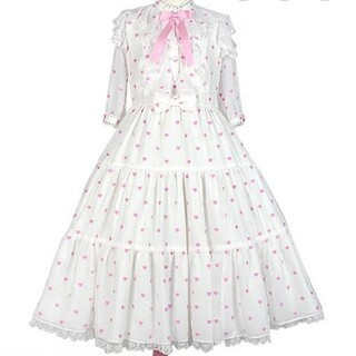 Angelic Pretty - Angelic Pretty 新品タグ付 プチハートワンピース 白×ピンク