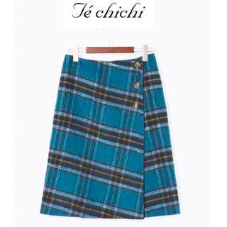 Techichi - リバーシブルチェックタイトスカート ブルー/グレー Mサイズ 新品タグ付き