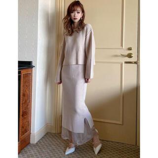 リゼクシー(RESEXXY)の裾シアードッキングニットスカート(ロングスカート)