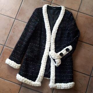 ルシェルブルー(LE CIEL BLEU)の【匿名配送】LE CIEL BLEUルシェルブルー ツィードジャケット風コート黒(ノーカラージャケット)