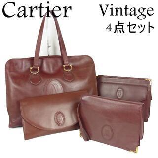 カルティエ(Cartier)のカルティエ ヴィンテージ マストライン トート クラッチ バッグ 4点セット(クラッチバッグ)