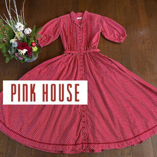PINK HOUSE - ピンクハウス ワンピース 水玉 赤