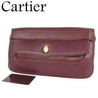 カルティエ(Cartier)のカルティエ マストライン 2C ダブルC レザー クラッチ セカンド バッグ(クラッチバッグ)
