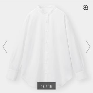 ★今期新品 GU ジーユー 美シルエット バンドカラーロングシャツ ホワイトM