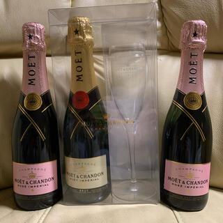 モエエシャンドン(MOËT & CHANDON)のモ・エ・シャンモエドン 375ml ハーフボトル×3本+モエシャンパングラス(シャンパン/スパークリングワイン)