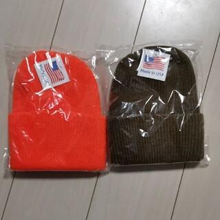 ロスコ(ROTHCO)のROTHCO アクリルニット ビーニー コヨーテブラウン オレンジ 2個セット(ニット帽/ビーニー)