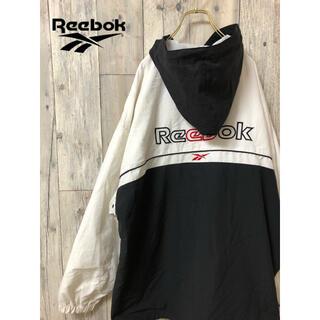 リーボック(Reebok)のリーボック 白黒ツートーンカラー ビック刺繍ロゴデザインコットンジャケット(ブルゾン)