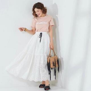 ドゥロワー(Drawer)の新品同様 OBLI コットンレースマキシスカート ホワイト(ロングスカート)