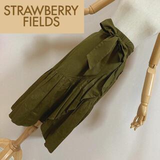 ストロベリーフィールズ(STRAWBERRY-FIELDS)のストロベリーフィールズ ラッフルフレアスカート カーキ(ロングスカート)