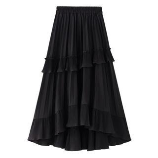 FRAY I.D - アシンメトリー フリルプリーツスカート ブラック Mサイズ