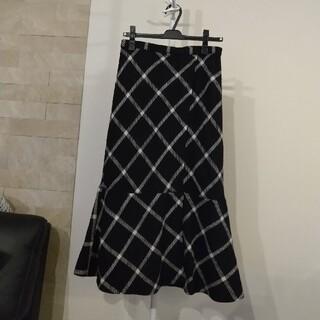アクアガール(aquagirl)の美品★aquagirl ウールスカート チェック柄 ブラック(ひざ丈スカート)