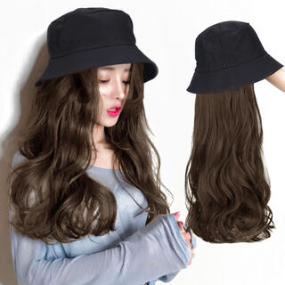 新品未使用❤️帽子ウィッグ取り外し可能タイプダークブラウンかぶるだけネット付❤️(ロングカール)
